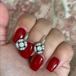 Jewelry - Circular CZ and silver hoop droplet earrings